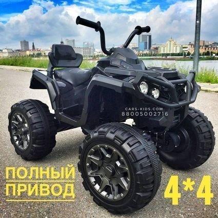 Электроквадроцикл Grizzly 4WD черный (АКБ 12v 10ah, колеса резина, сиденье кожа, пульт, музыка)