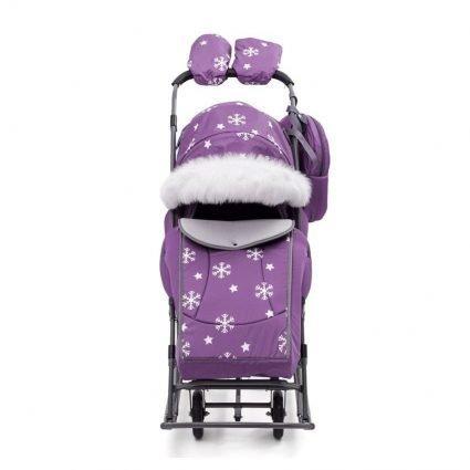 Санки-коляски Pikate Снежинки «Фиалка» (материал «Dewspoo» плотностью 240 D, овчина, 3 положения спинки, краска рамы темно-серый)